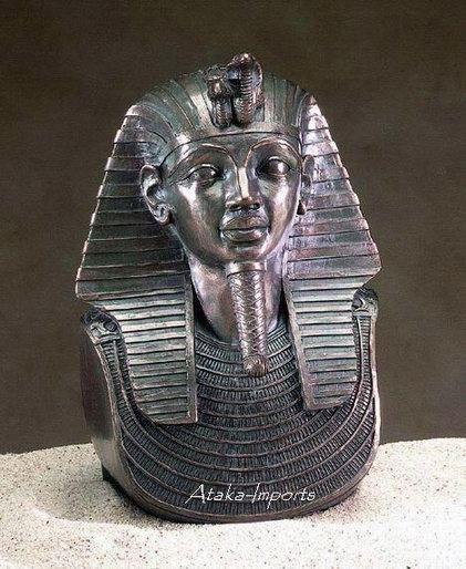 EGYPTIAN KING TUT BRONZE BUST (5096)