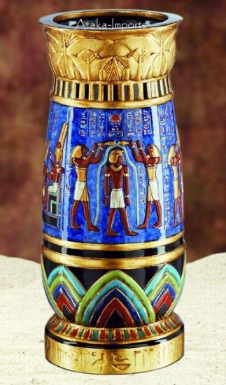 EGYPTIAN GOD & GODDES VASE -GORGEOUS (6052s)