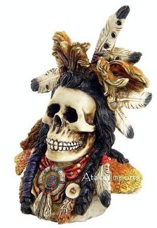 INDIAN WARRIOR SKULL-SKELETONS FIGURINE-HALLOWEEN (6381)