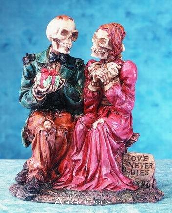 HALLOWEEN WEDDING CAKE TOPPER-SKULL COUPLE STATUE-COOL (5164)