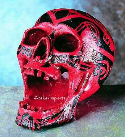 RED HUMAN SKULL ASHTRAY-TATTOO-THRILLING-WEIRD-BIZARRE HALLOWEEN (4882s)