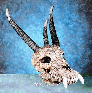 "14"" DRAGON SKULL-SKELETONS-STATUE-COOL HALLOWEEN (4874)"