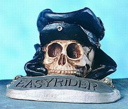 HARLEY DAVISON-EASY RIDER-SKULL FIGURINE-MOTORCYCLIST (4727)