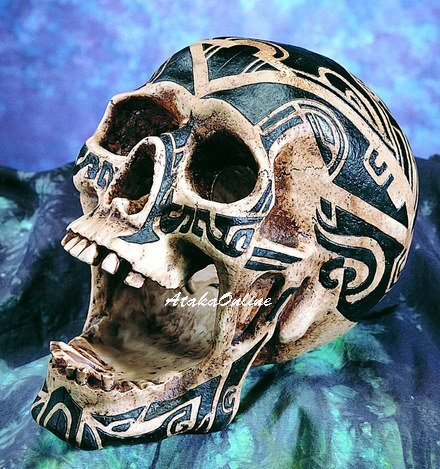 TATTOO TRIBAL SKULL FIGURINE-SKELETONS STATUE-WOW-HALLOWEEN (6406)