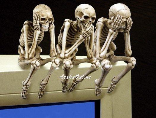 THREE SKELETON PC TOPPER-SEE NO EVIL, HEAR NO EVIL, SPEAK NO EVIL-OFFICE-DESK DECOR (6499)