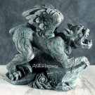 PERCHED GARGOYLE ON ROCK STATUE-NEAT-GOTHIC (5698)