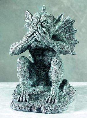 SPEAK NO EVIL-GARGOYLE STATUE-FIGURINE-GOTHIC (5132)