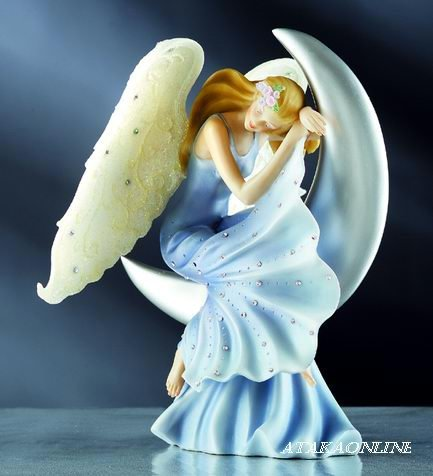 HANDPAINTED ANGEL W MOON FIGURINE-STATUE-SWEET DREAM (6100)