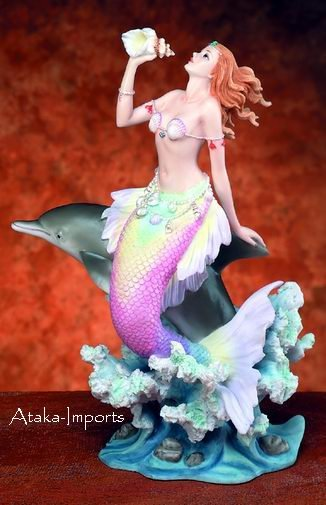 MERMAID WITH DOLPHINE-PLAYING-FIGURINE-STATUE (5730)
