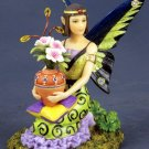 HANDPAINTED FAIRY STATUE-FIGURINE W POT OF FLOWERS (6532)
