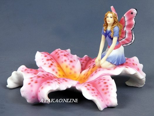 HANDPAINTED FLORAL JEWELRY DISH WITH FAIRY (6541)
