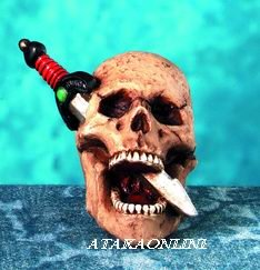 SKULL HEAD W PIERCING DAGGER FIGURINE-SKELETON-BIZARRE-HALLOWEEN (4382)