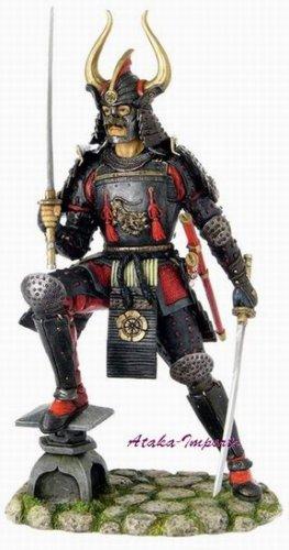 JAPANESE SAMURAI w 2 SWORDS ARMOR STATUE-NITO KENJUTSU (6256)