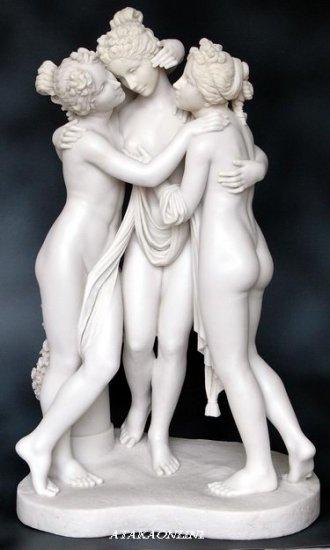 THREE GRACES-ROMAN SCULPTURE-ARTWORK-THREE LADIES (6450)