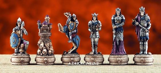 BATTLE OF THE NETHER WORLD CHESS SET-HANDPAINTED-ANCIENT (6038)