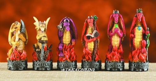 FIERY DRAGON VS. SKELTAL DRAGON CHESS SET-HANDPAINTED-COLORFUL (6059)