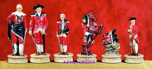 AMERICAN REVOLUTION CHESS SET-HANDPAINTED-ANCIENT (5281s)