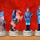 U.S. CIVIL WAR CHESS SET-HANDPAINTED-ANCIENT (5126s)