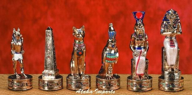 EGYPITAN CHESS SET-PEWTER-HANDPAINTED-ANCIENT (5593s)