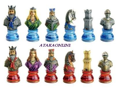 MEDIEVAL CLEAR BASE CHESS SET-HANDPAINTED-ANCIENT-SPECIAL (6365)