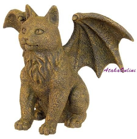 WINGED BROWN CAT GARGOYLE STATUE-GOTHIC (6322)