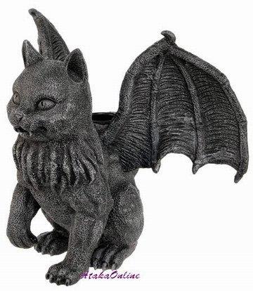 WINGED CAT GARGOYLE-GOTHIC-CANDLE HOLDER-CANDLEHOLDER (6317)