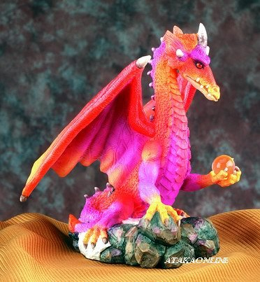 DRAGON HOLDING ORB-FIGURINE-STATUE (5018)