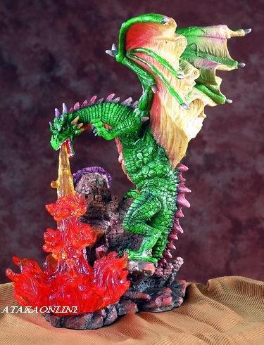 GREEN DRAGON BREATHING FIRE-FIGURINE-STATUE (5543)