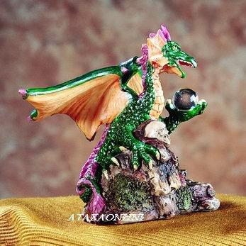 GREEN DRAGON HOLDING ORB-FIGURINE-STATUE (5197)
