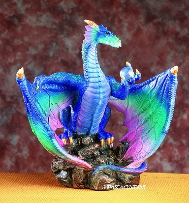 DRAGON W OPEN WINGS- HOLDING ORB-FIGURINE-STATUE (5016)