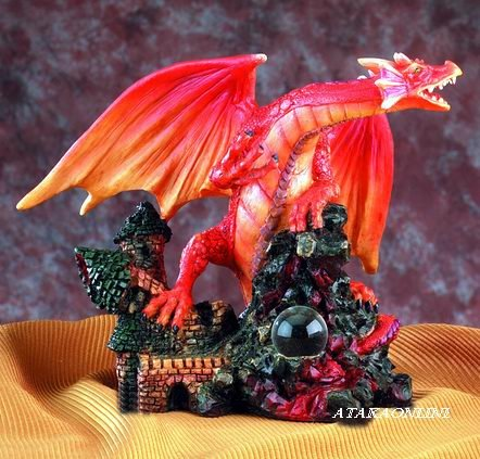 RED DRAGON STEPPING ON CASTLE-FIGURINE-STATUE (5011)