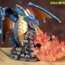 BLUE DRAGON BREATHING FIRE-FIGURINE-STATUE (5548s)