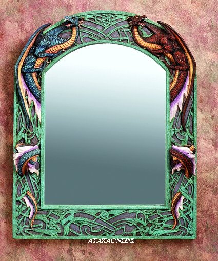 DUAL DRAGON MIRROR WITH CANDLEHOLDE-FIGURINE-STATUE (5909)