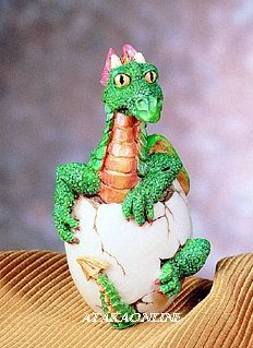 GREEN DRAGON HATCHING-FIGURINE-STATUE (4681)
