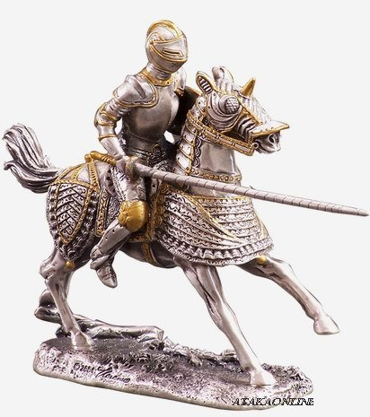 MEDIEVAL KNIGHT ON HORSE-PEWTER-FIGURINE-CHIVALRY (6174s)