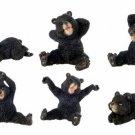 SET OF 6-BLACK BEARS-FIGURINES-DISPLAY-FUN (6370)