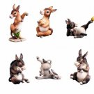 SET OF 6-PLAYFUL DONKEYS-FIGURINES-DISPLAY-FUN (6184)