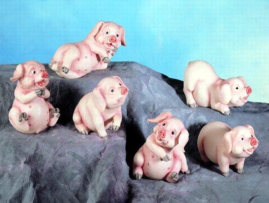 SET OF 6-LITTLE PIGS-FIGURINES--DISPLAY-FUN (4881)