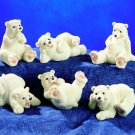 SET OF 6-POLAR BEARS-FIGURINES-DISPLAY-FUN (5225)