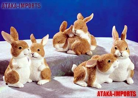 SET OF3-RABBIT COUPLES-FIGURINES-DISPLAY-EASTER (5243)