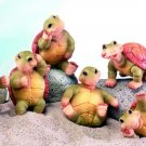 SET OF 6-PLAYFUL TURTLES-FIGURINEs-DISPLAY-FUN (5174)