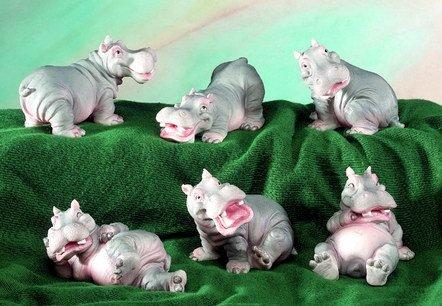 SET OF 6-HIPPOS-FIGURINES-DISPLAY-FUN (5163)