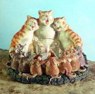 CATS & MICE HARMONY CANDLEHOLDER-FIGURINES-DISPLAY-FUN (5355)