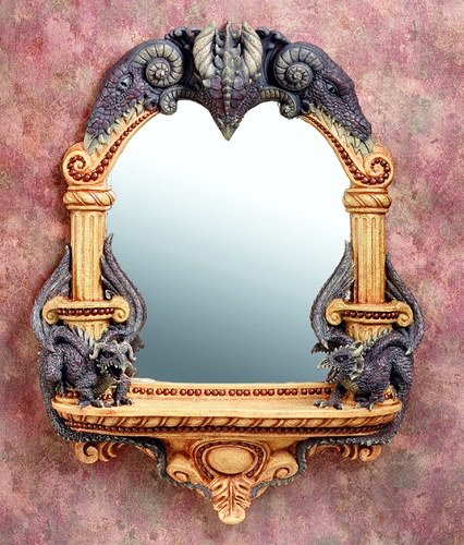 DRAGON  MIRROR W CANDLEHOLDER-VERY DETAILED-LIMITED EDITION (5937)