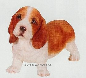 BASSET HOUND-PUPPY-DOG FIGURINE CUTE (6632s)