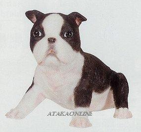 BOSTON TERRIER-PUPPY-DOG FIGURINE CUTE (6633s)
