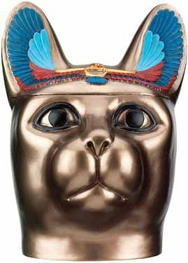 BASTET HEAD BOX W REMOVABLE HEAD LID-FIGURINE-STATUE (6090s)