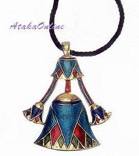 "EGYPTIAN JEWELRY-LOTUS PENDANT-26""CORD NECKLACE (2316s)"