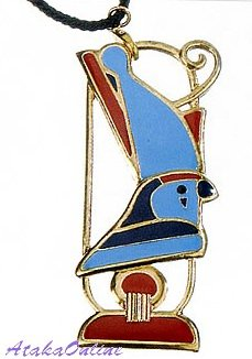 """EGYPTIAN JEWELRY-HORUS w CROWN PENDANT-26""""CORD NECKLACE (2303s)"""