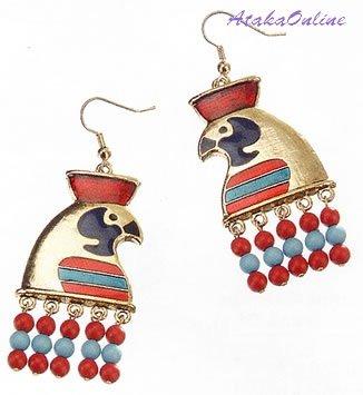 "HORUS EARRINGS and HORUS w LOTUS PENDANT-26""CORD NECKLACE- EGYPTIAN FINE JEWELRY SET (2321-2319)"